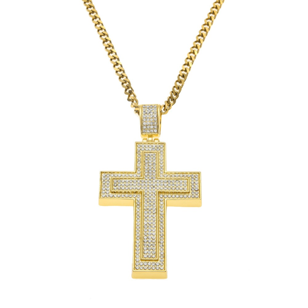 Full Rhinestone Double Layered <font><b>Cross</b></font> Pendant Gold Cuban Necklace Big Crucifix Statement Mens Hip Hop Jewelry
