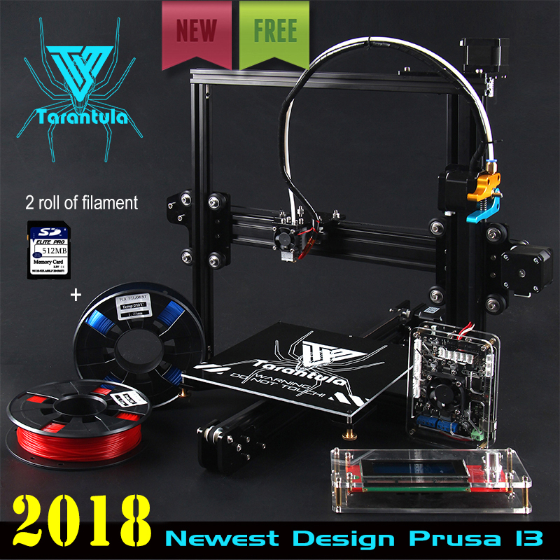 цена на 2018 Newest TEVO Tarantula I3 Aluminium Extrusion 3D Printer kit printer 3d printing 2 Rolls Filament 512MB SD card LCD As Gift