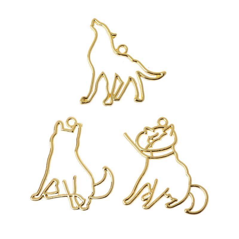 3Pcs Howling Wolf Dog Cat Profile UV Frames Pendant Open Bezel Resin Jewelry DIY