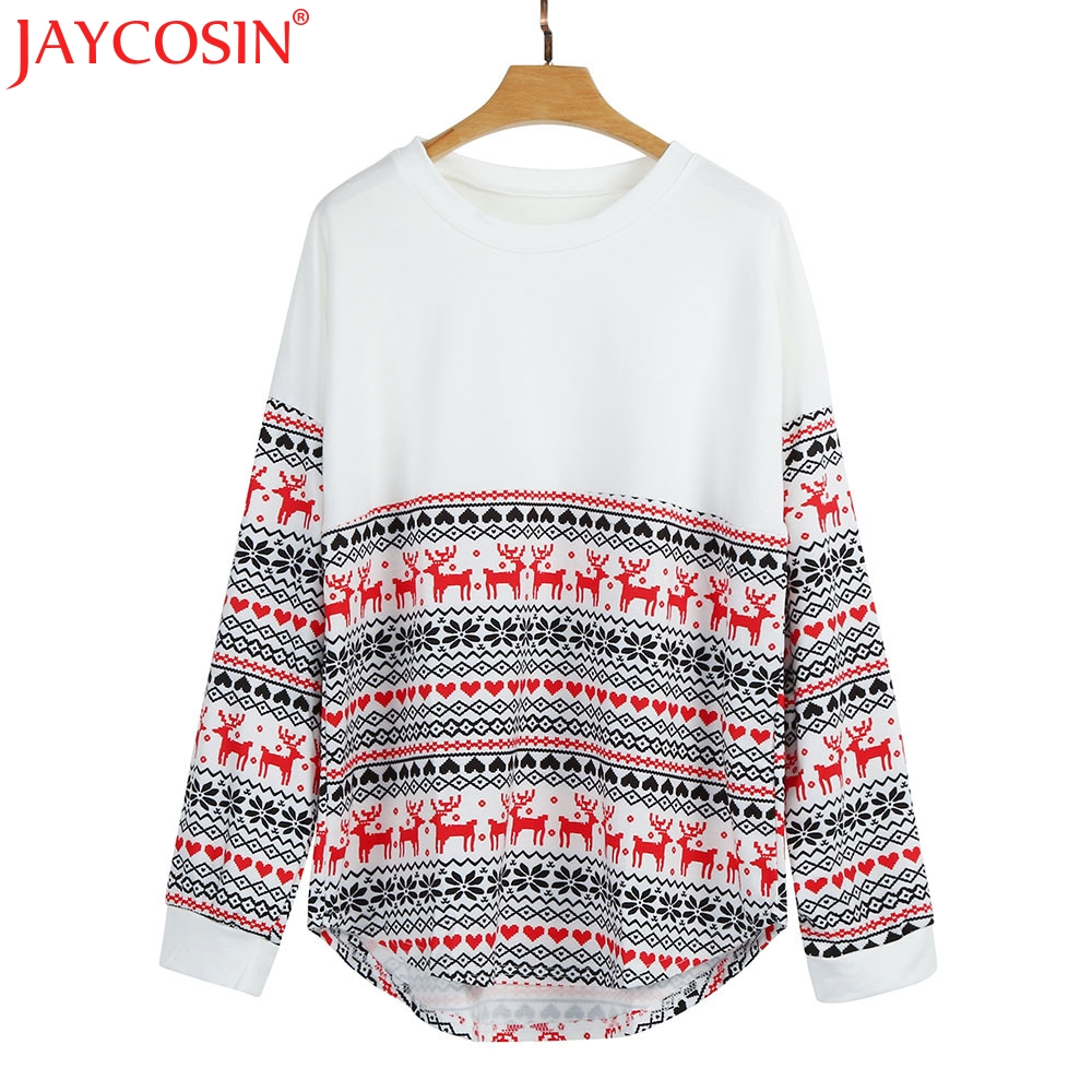 Jaycosin tシャツベーシック無地tシャツ女性カジュアル女性メリークリスマス緩い基本長袖tシャツNev21送料市平