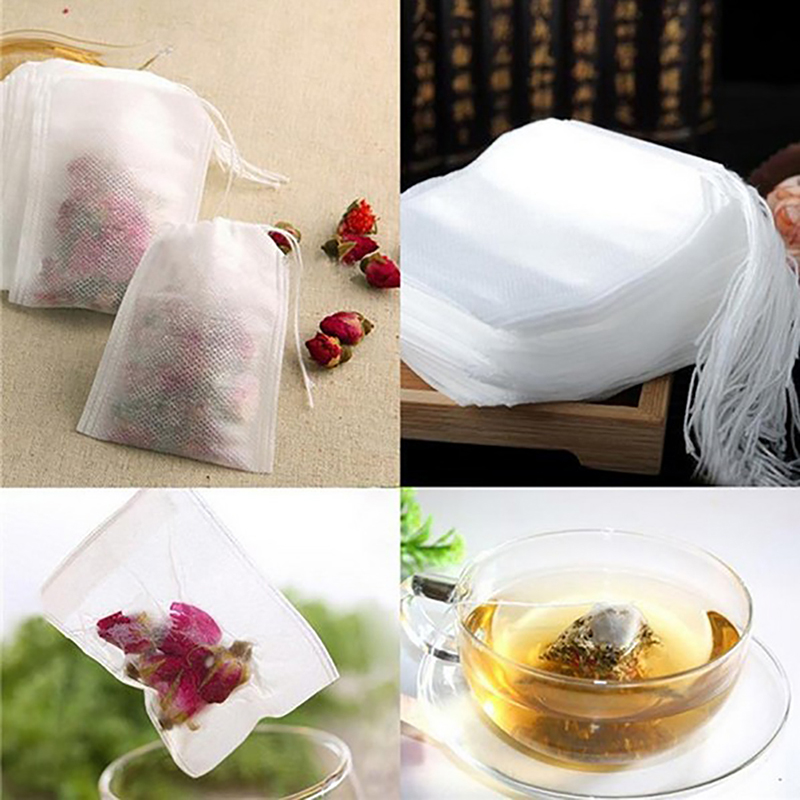 Newest 100 Piece / Lot 5.5x7 CM Empty Tea Bags Tea Infuser With A Rope Healing Paper Label Grass Filter Drops