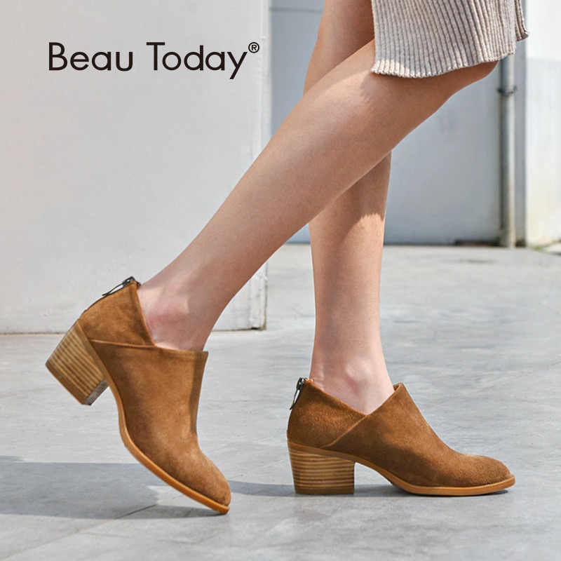 BeauToday Kadın Botları Yüksek Topuk Yuvarlak Ayak Fermuar El Yapımı Hakiki Deri Inek Süet bileğe kadar bot Bahar Sonbahar Bayan Ayakkabıları 03315