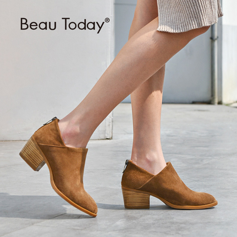 BeauToday kobiet buty wysoki obcas okrągłe Toe zamek ręcznie z prawdziwej skóry krowy zamszowe botki wiosna jesień pani buty 03315 w Buty do kostki od Buty na  Grupa 1