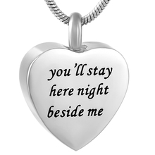 IJD9788 Personalised customized Stainless Steel Heart Cremation Jewelry in Pendant Statement Necklace Women Man Wholesale