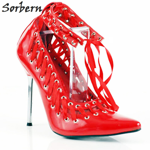 9ad1899bd9cc Sorbern Black Hollow Out Pointed Toe Metal Heels Women Pumps Ankle Straps  Rivet Hole Sexy Fetish Shoes Pump Stilettos Heeled