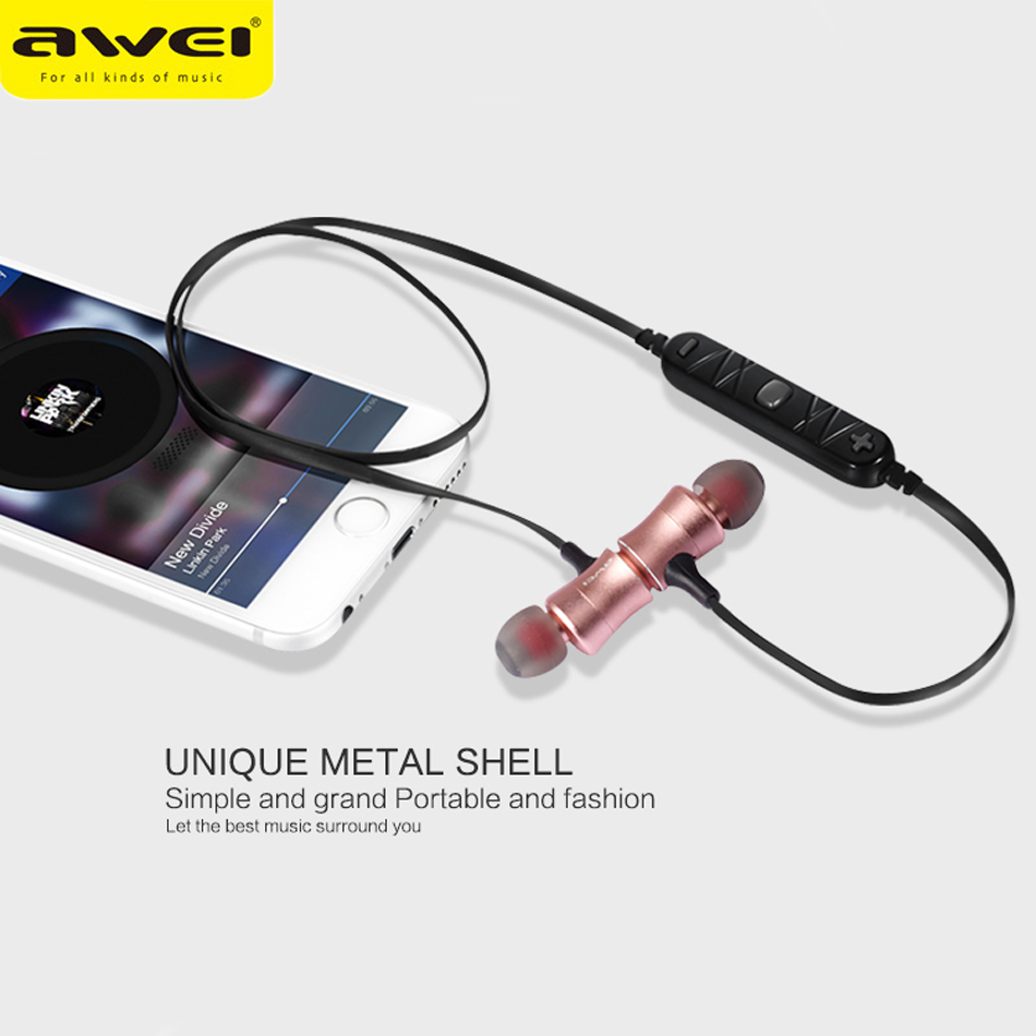 New Awei A921BL in ear Earphones magnet wirless Sport headset Noise Isolation hands free bluetooth earphone for phones /music awei a870bl multi function bluetooth v4 1 hands free call headset dual usb car charger earphones for android ios smartphone