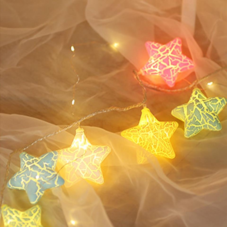 Holiday Lighting Curtain String Lights Star Battery Fairy Lights 3m ...