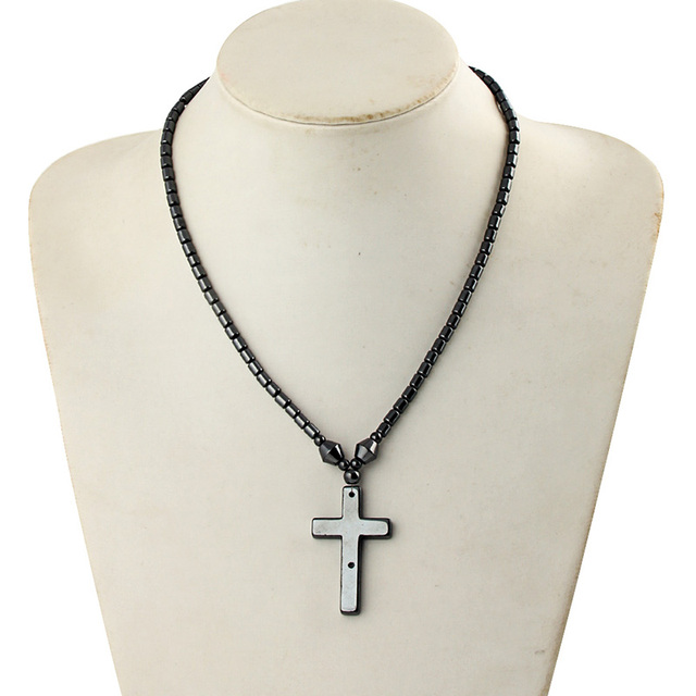 High grade natural stone black magnetic hematite cross pendant high grade natural stone black magnetic hematite cross pendant necklace screw clasp tube shape bead chain aloadofball Gallery