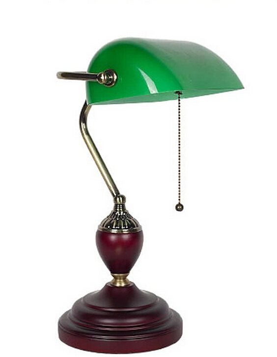 Bankers table lamp desk light Green glass cover ,birch ...