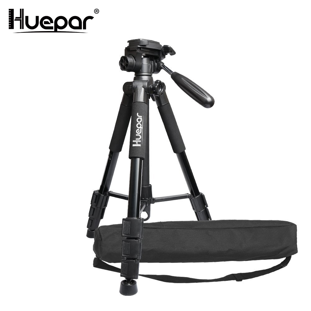 Huepar Multi-function Travel Camera Tripod 56/143cm Adjustable Laser Level Tripod with 3-Way Swivel Pan Head,with Bubble Level drill buddy cordless dust collector with laser level and bubble vial diy tool new