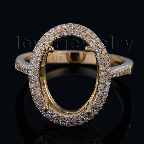 New Setting Ring Solid 14Kt Yellow Gold Diamond Semi Mount Ring Oval 10x14mm Wholesale for Wedding