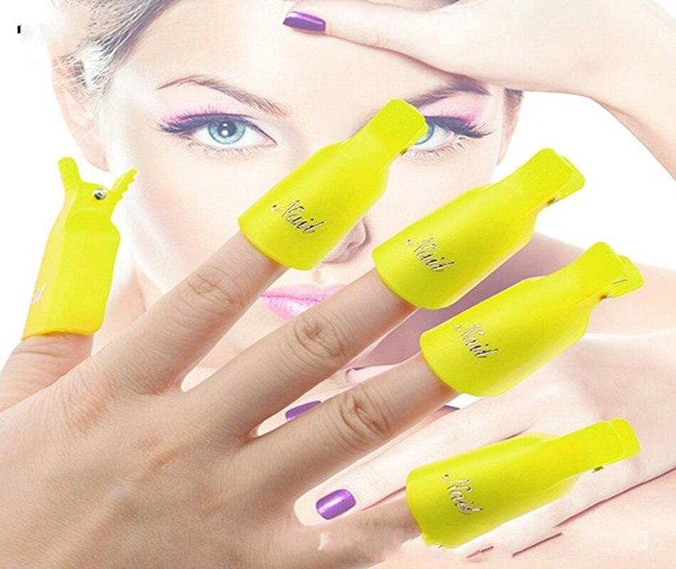 300Sets Fashion Hot 10pcs lot Plastic Nail Art Soak Off Cap Clip UV Gel Polish Remover