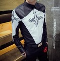 2017 spring new embroidery geometric patterns men's Slim long-sleeved shirt personality Korean fashion tight shirt