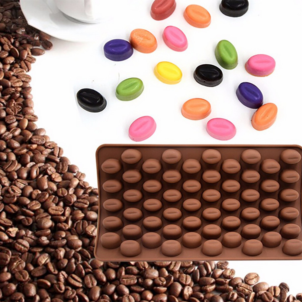 Coffee Beans Shape Cake Chocolate Mould Multiple Cavity Silicone Chocolate Mold Non Stick Candy Cake Baking Tools Cookie Mould image