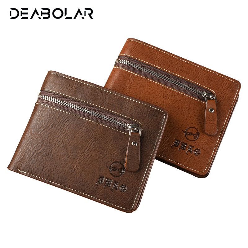 2017 Hot Vintage Male Coffee Leather Wallet Man Retro Card Holder Coin Purse Pockets Wallets Purses with Zip for Men