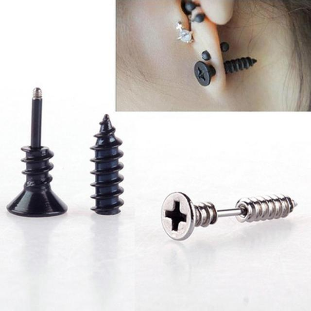 Stainless Steel Screw Shaped Earrings For Men