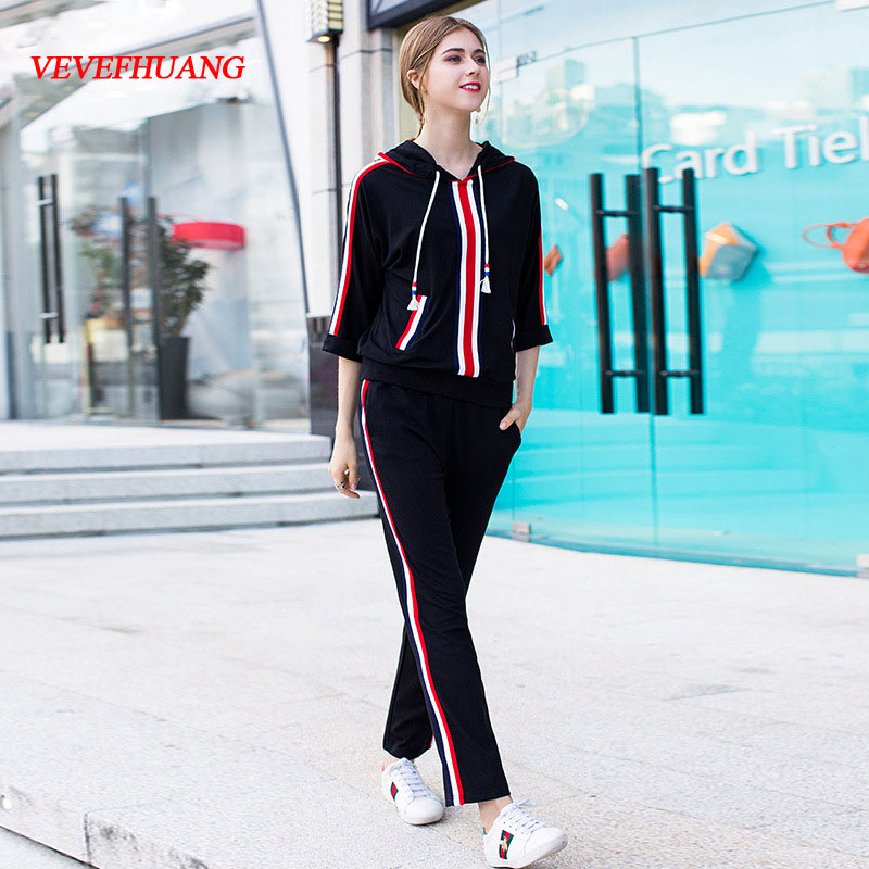 VEVEFHUANG Autumn New Designer two Piece Set Women Hooded Sweatshirt + Striped Elastic Waist Long Pants Clothes Set Suit