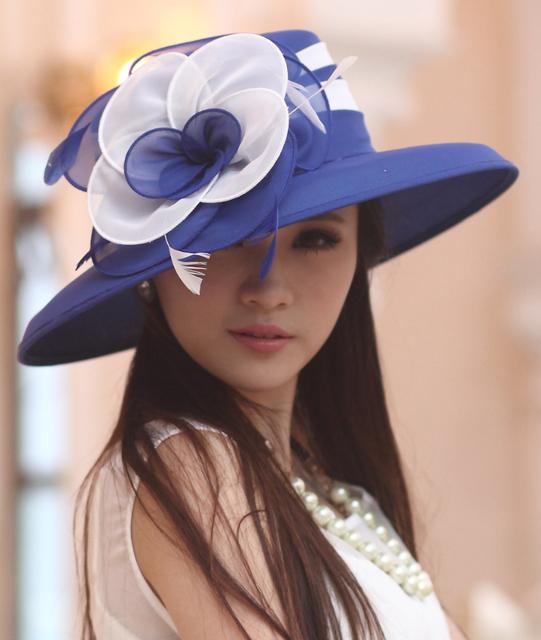 2017 Mujeres Vestido de Boda de la Playa Cóctel de la Tarde Del Partido de La Iglesia de Derby Sombreros para el Sol de Ala Ancha Cap Vintage Fedora Boinas Sombreros De Gasa
