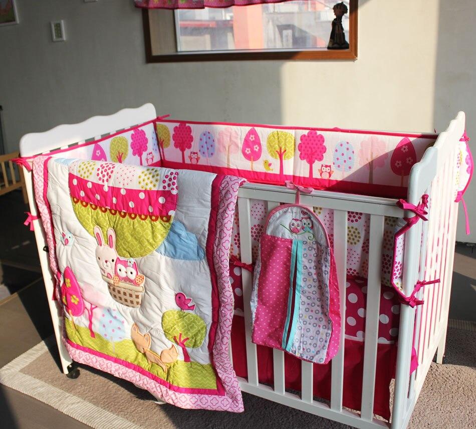 Baby bed online shopping - Girl Baby Bedding Set Cotton 3d Embroidery Hot Air Balloon Rabbit Fox Owl Quilt Bumper Bedskirt