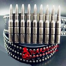 Cool men's belt bullets rivet punk belt skull poker trend bu
