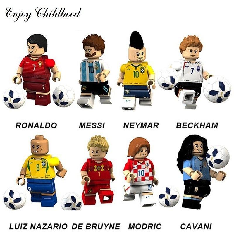 2018 8 pçs/set Mundos Copo Figura Jogador de Futebol Da Equipe Legoings Futebol Ronaldo Messi Crianças Brinquedos de Blocos de Construção Tijolos Compatível