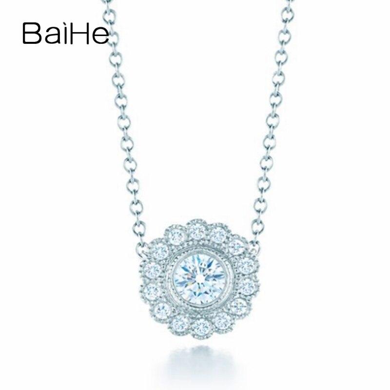 BAIHE solide 18 K or blanc 0.17ct certifié 100% véritable diamants naturels femmes fiançailles bijoux fins élégant cadeau colliers