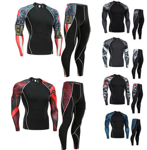 Men Clothing Compression Union Suit 2 Piece Tracksuit Rashgard Kit MMA 3D Printed Shirt Tights Long Sleeve T Shirt Men Leggings