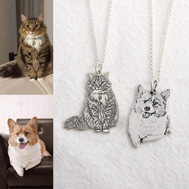 Custom Pet Photo Necklaces  Pendant  Engraved Name wish 925 Sterling Silver Dog Tag .photo custom jewelry.photo personalized 2