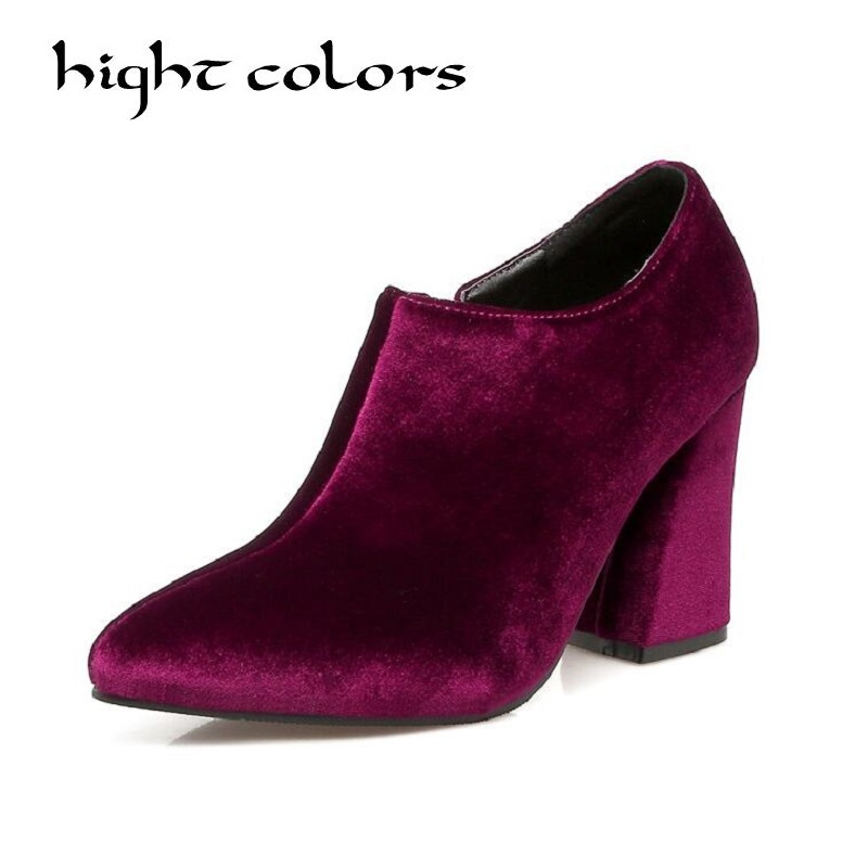 2018 Women Boots Flock Ankle Boots Pointed Toe High Heel Zipper Women's Singles Shoes Ladies Party Boots Big Size 34-43 phil collins singles 4 lp