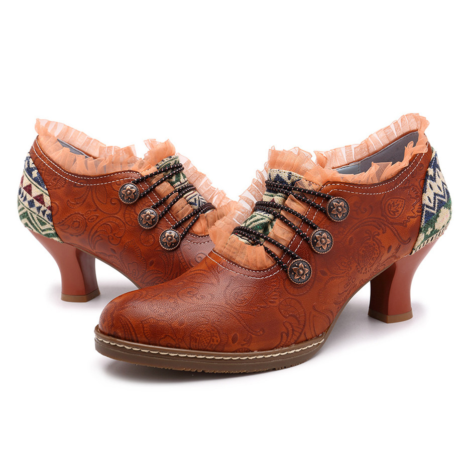 Wine Glasses Women Pumps European Vintage Hand Genuine Leather Shoes Embossed Stitching Spanish Style Four Seasons Women's Shoes (5)