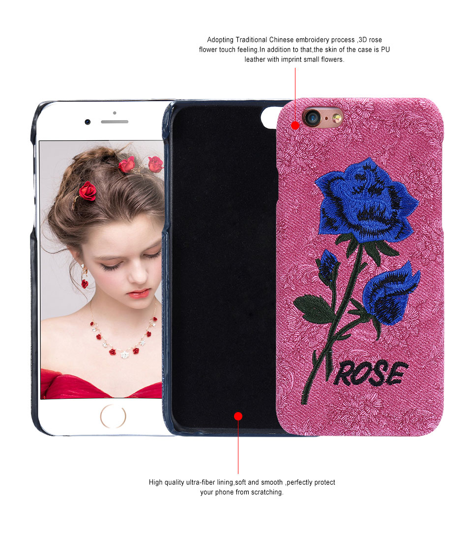 KISSCASE Beautiful Rose Flower Cover For Apple iPhone 6 6S Plus 7 7 Plus Case Fundas Coque Embroidery Pattern For iPhone 6 7 6S (5)