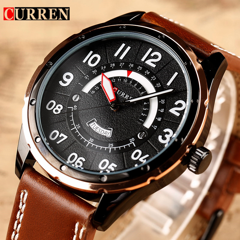 2017 CURREN Watches Fashion Luxury  Men watch Sport Clock Male Watches Quartz Wristwatch Leather Watch Relogio Masculino 8267 2017 curren watches men brand luxury leather quartz watch men s fashion casual sport male clock men wristwatch relogio masculino
