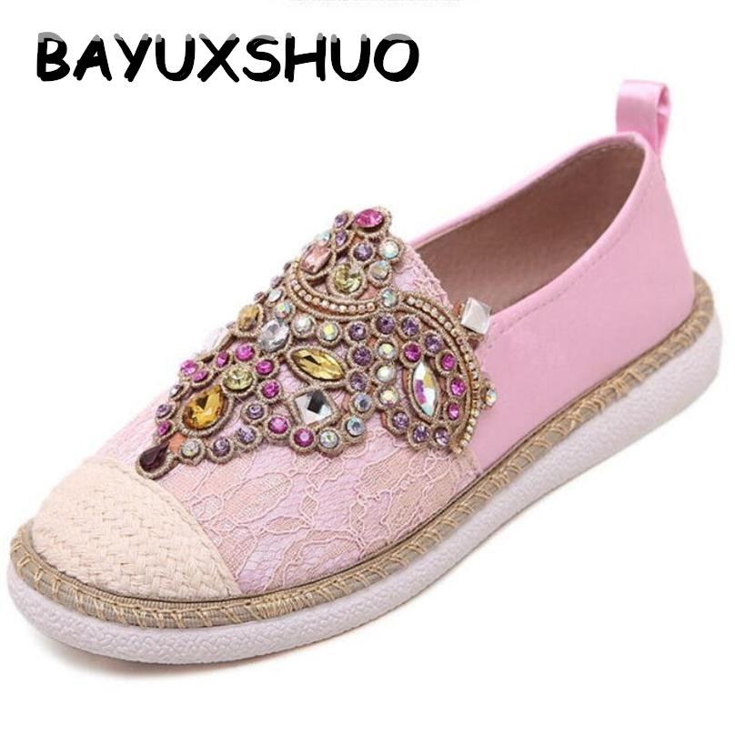 BAYUXSHUO Spring Autumn Casual Women Flats Shoes Gem Round Toe Loafers Fisherman Espadrilles lazy Hemp Rope Weave Shoes Woman