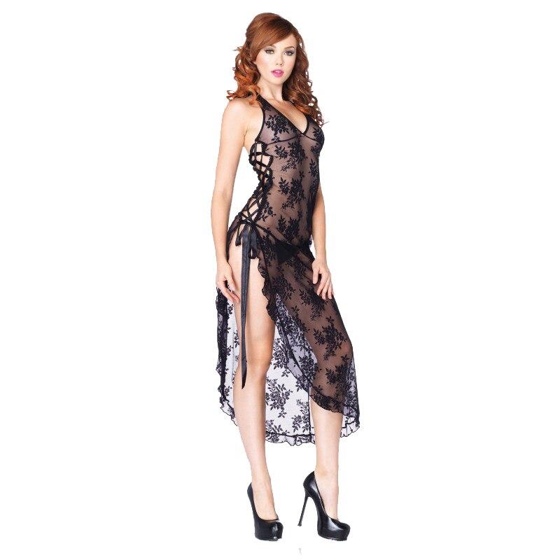 dc7843f60515 € 11.61 20% de DESCUENTO|Talla grande S 6XL mujeres rojo vestido largo ropa  de noche Sexy camisón Lencería encaje tentación ropa interior Mujer ...