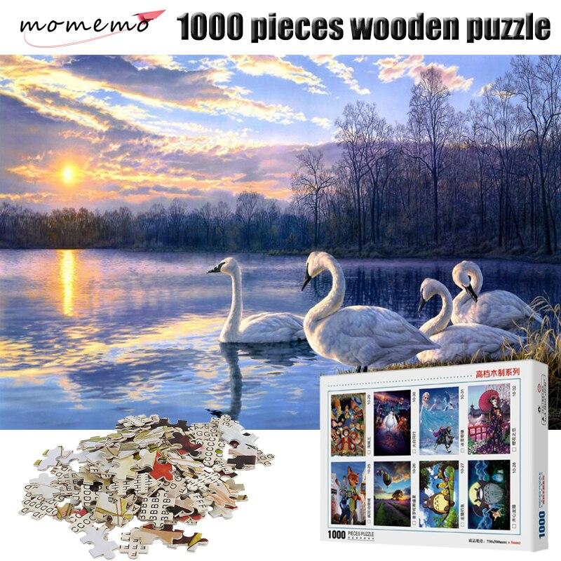 MOMEMO Swan Jigsaw Puzzle dla dorosłych Puzzle drewniane zabawki 1000 sztuk drewniane gry-układanki krajobraz Puzzle dla dzieci zabawki