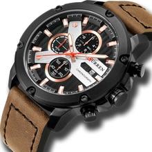 Casual Sport Watches Leather Strap Military Quartz Mens Wristwatch Fashion Brand CURREN 2018 Chronograph Clock Male Relojes