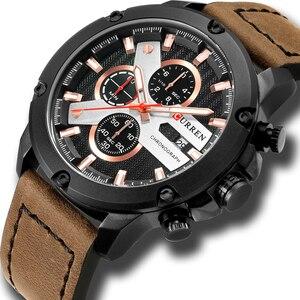 Image 1 - Casual Sport zegarki skórzany pasek wojskowy kwarcowy zegarek męski moda marka CURREN 2018 chronograf zegar męski Relojes