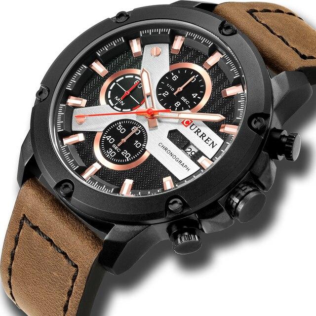 Casual Sport zegarki skórzany pasek wojskowy kwarcowy zegarek męski moda marka CURREN 2018 chronograf zegar męski Relojes