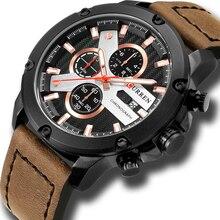 Casual spor saatler deri kayış askeri kuvars erkek kol saati moda marka CURREN 2018 Chronograph saat erkek Relojes