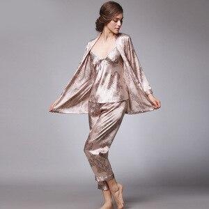 Image 4 - SSH008 Women Satin Silk Pajama Set Female 3pcs Full Sleeves Sleepwear Loungewear Women Nightgown Spring Autumn Nightwear Pajamas