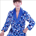 Autumn Winter Mens Flannel Bathrobes Dressing Gown For Men Long Sleeve Kimono Robe Male Sleepwear Lounges Homewear Pyjamas Men