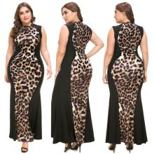 Women Plus Size Dress Elegant Ladies Party Leopard Print Patchwork Sleeveless Bodycon Maxi
