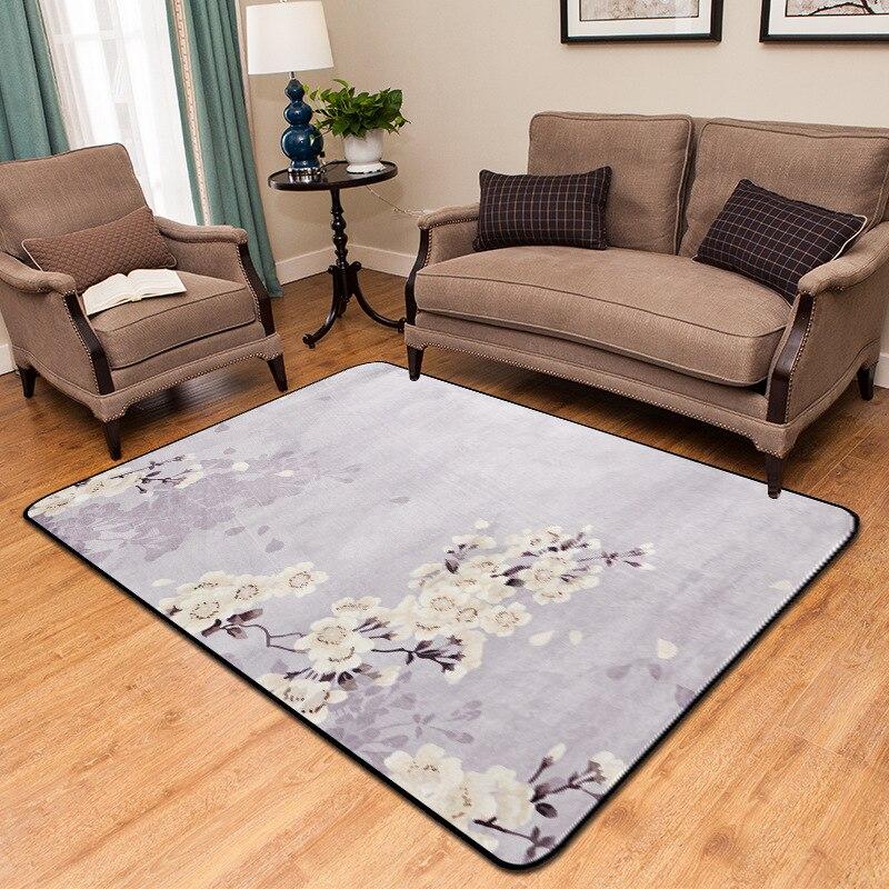 Style chinois imprimé prune tapis chambre salon chambre baie fenêtre décontracté couverture tapis antidérapant