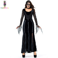 Gothic Deluxe Women Lace Black Long Dresses Halloween Party Vampire Costume With Eye Mask/Neck Ring Mysterious Queen Costumes