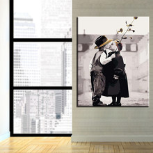 Diy Picture Drawing Coloring Little Girl Boy Kiss Oil Paint Painting By Numbers On Canvas By Hand Framework Wall Modular Artwork(China)