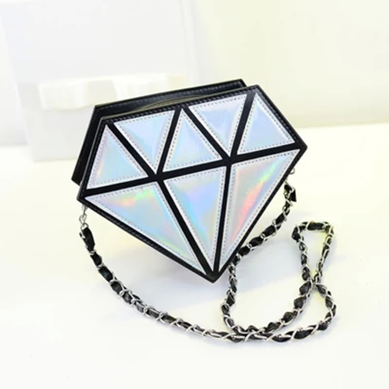 2018 hot fashion Women Bags 3D Diamond Shape Shoulder Chain Lady Girl Messenger Small Crossbody Satchel Evening zipper hangbags