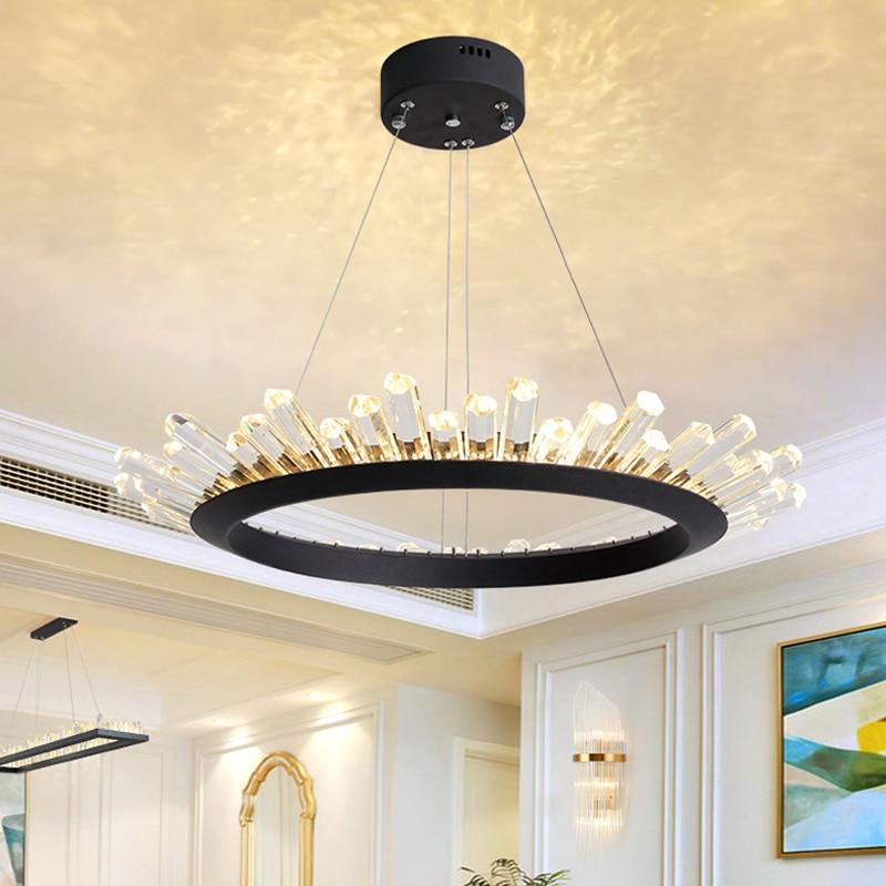 Post Modern LED Crystal Chandelier Lighting For Living Room Dinning Room Black Gold Lustre Cristal Lampadari
