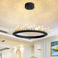 Post Modern LED Crystal Chandelier Lighting For Living Room Dinning Room Black/Gold Lustre Cristal Lampadari LED Light