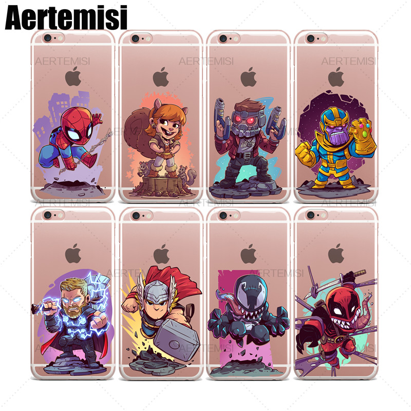 Aertemisi Clear TPU Case Cover for iPhone 6 6s Star-Lord Thanos Thor Venom Venompool Winter Soldier Wolverine Yondu image