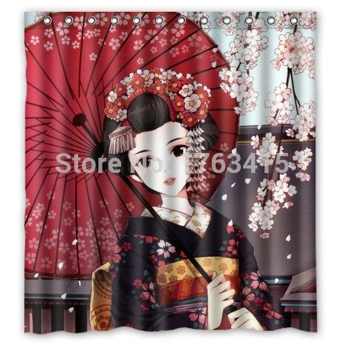 Anime Beautiful Japanese Girl Custom Shower Curtain 66 X 72 In Curtains From Home Garden On Aliexpress